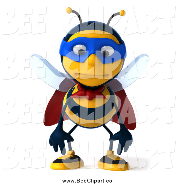 Clip Art of a 3d Sad Super Honey Bee Pouting