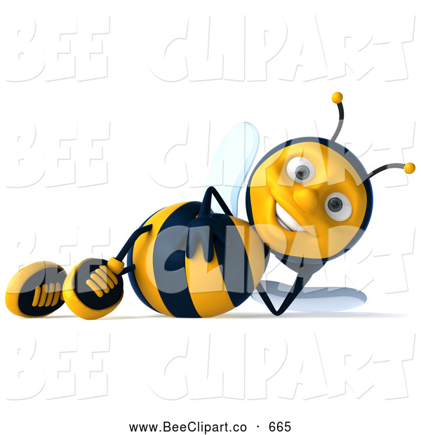 Clip Art of a 3d Sexy Bee Character Relaxing on His Side