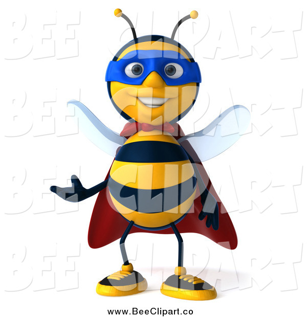 Clip Art of a 3d Super Hero Honey Bee Presenting