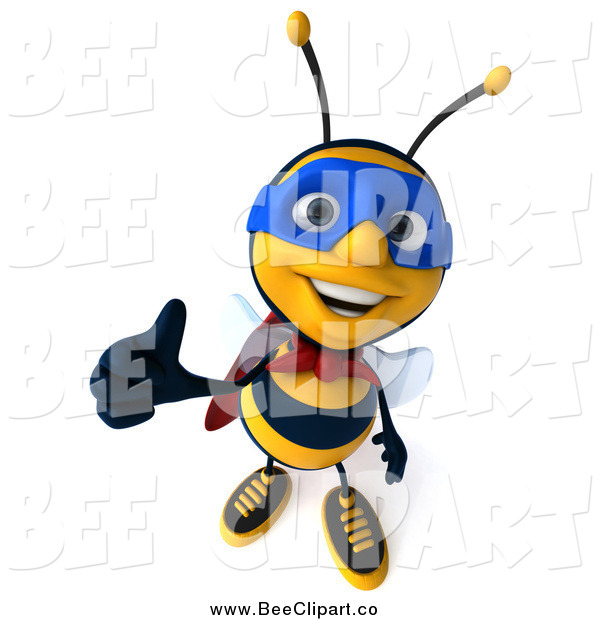Clip Art of a 3d Super Honey Bee Giving a Thumb up