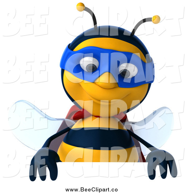 Clip Art of a 3d Super Honey Bee over a Sign
