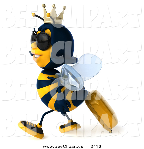 Clip Art of a 3d Traveling Queen Bee Wearing Sunglasses and Walking with Rolling Luggage