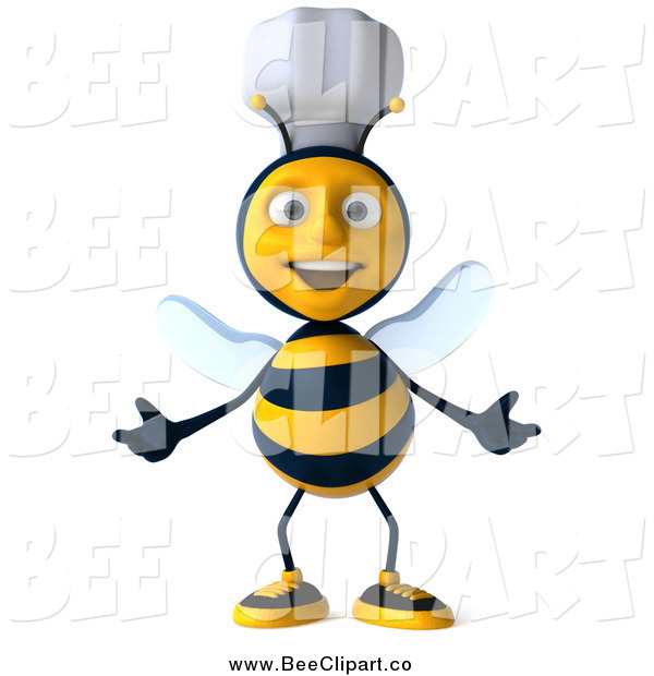 Clip Art of a 3d Welcoming Chef Bee with Open Arms