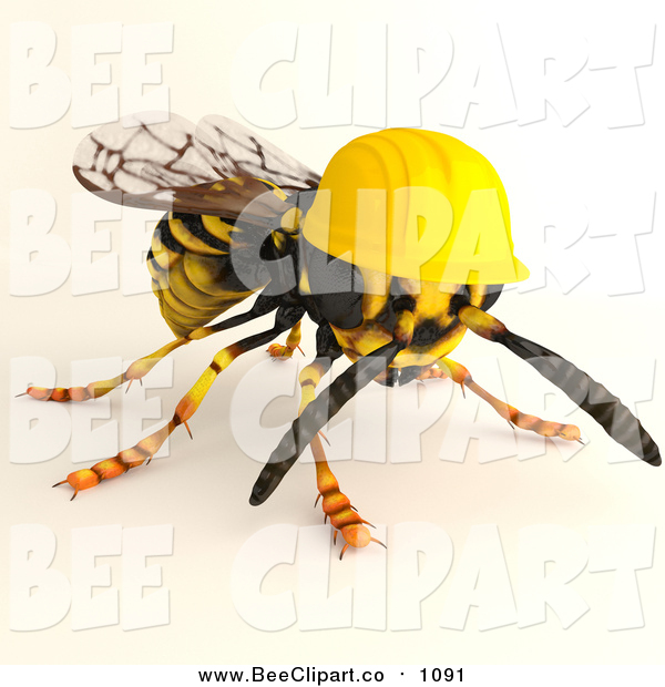 Clip Art of a 3d Worker Wasp Wearing a Hard Hat