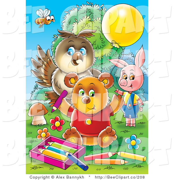 Clip Art of a Bee Owl Pig and Bear Coloring Together