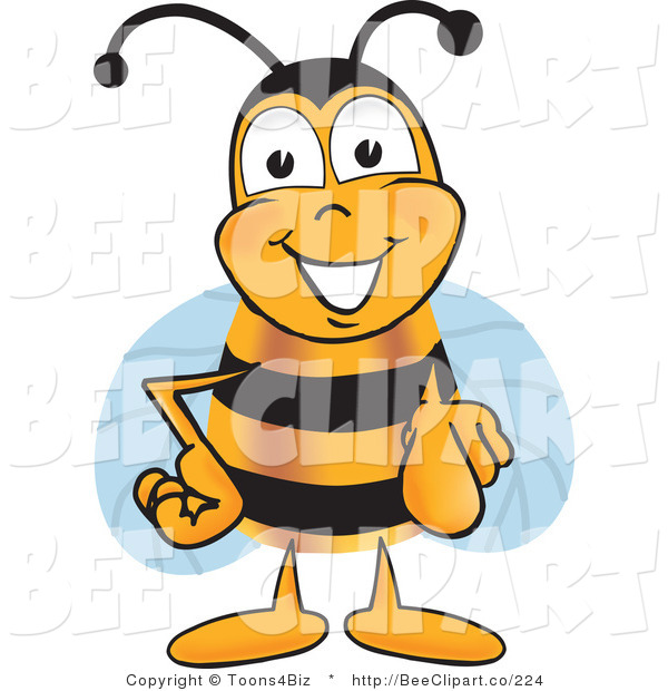 Clip Art of a Bee Pointing out