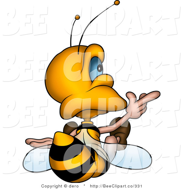 Clip Art of a Bee Sitting and Pointing