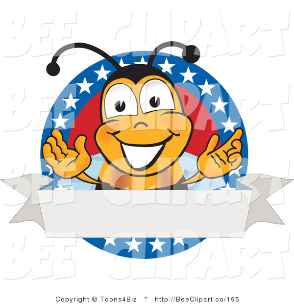Clip Art of a Bee with Stars on a Blank Label