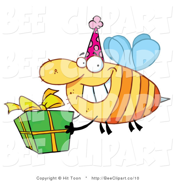 Clip Art of a Birthday Party Bee and Gift