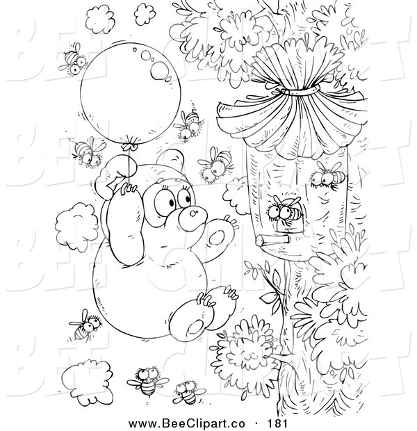Clip Art of a Black and White Bear and Bees Coloring Page Outline Design