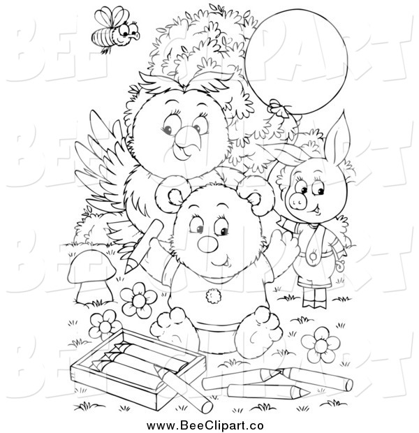 Clip Art of a Black and White Bee, Ppig, Owl and Bear Coloring