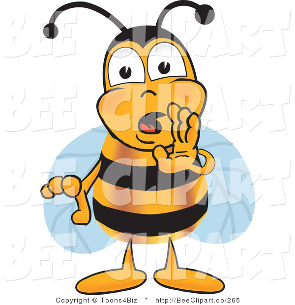 Clip Art of a Bumble Bee Cupping His Mouth