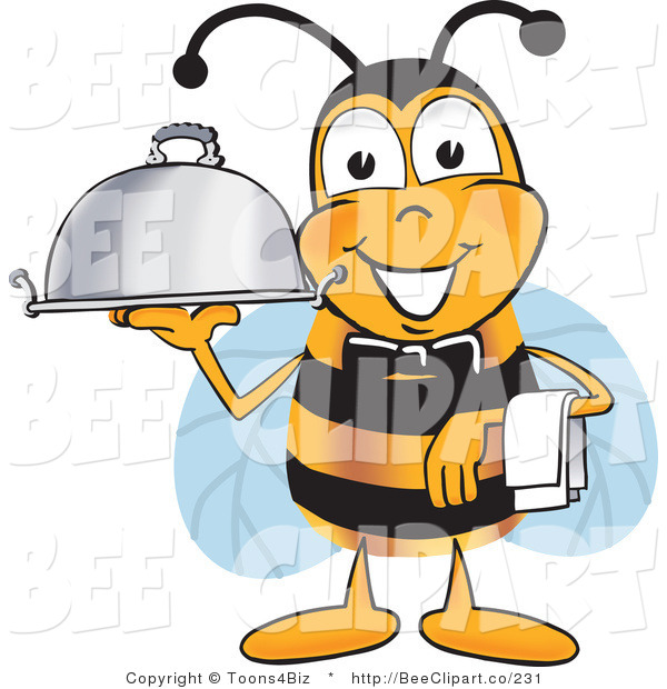 Clip Art of a Bumble Bee Dressed As a Servant, Carrying a Food Platter