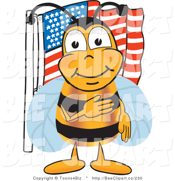 Clip Art of a Bumble Bee Giving the Pledge of Allegiance near an American Flag