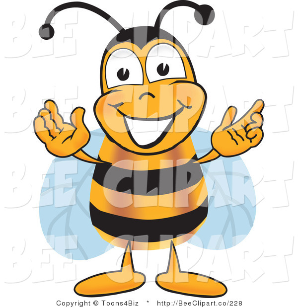 Clip Art of a Bumble Bee Greeting with Open Arms