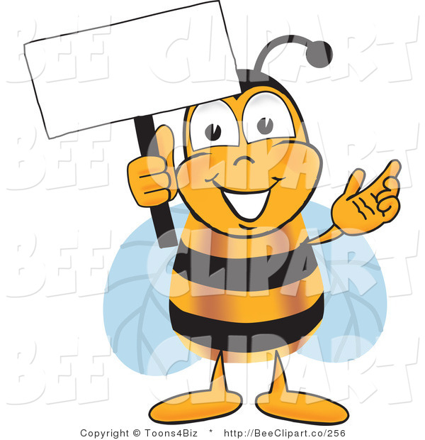 Clip Art of a Bumble Bee Holding a Blank White Sign