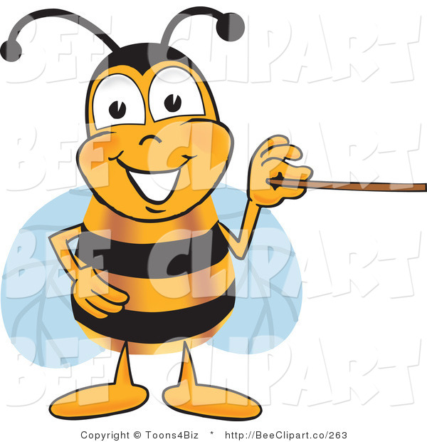 Clip Art of a Bumble Bee Holding a Pointer Stick