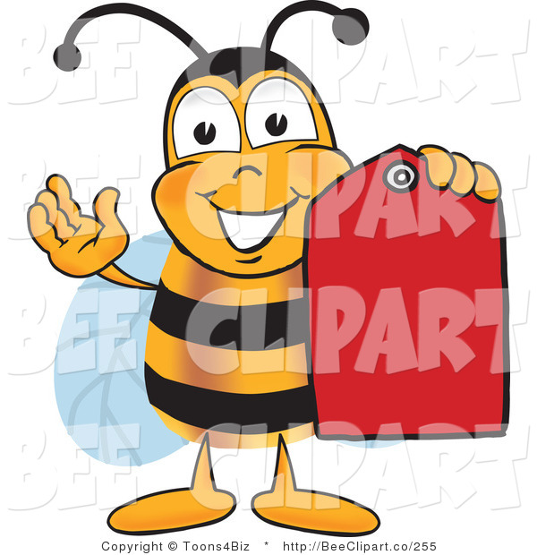Clip Art of a Bumble Bee Holding a Red Clearance Sales Tag