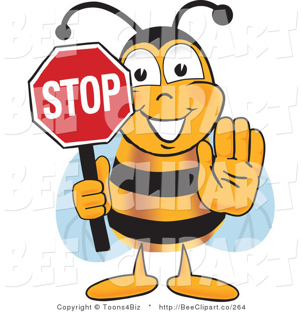 Clip Art of a Bumble Bee Holding His Hand out and a Red Stop Sign