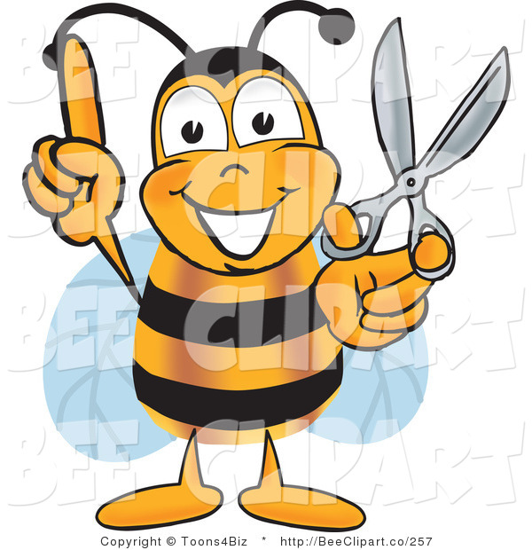 Clip Art of a Bumble Bee Holding Scissors