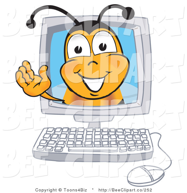 Clip Art of a Bumble Bee in a Computer Monitor, Waving