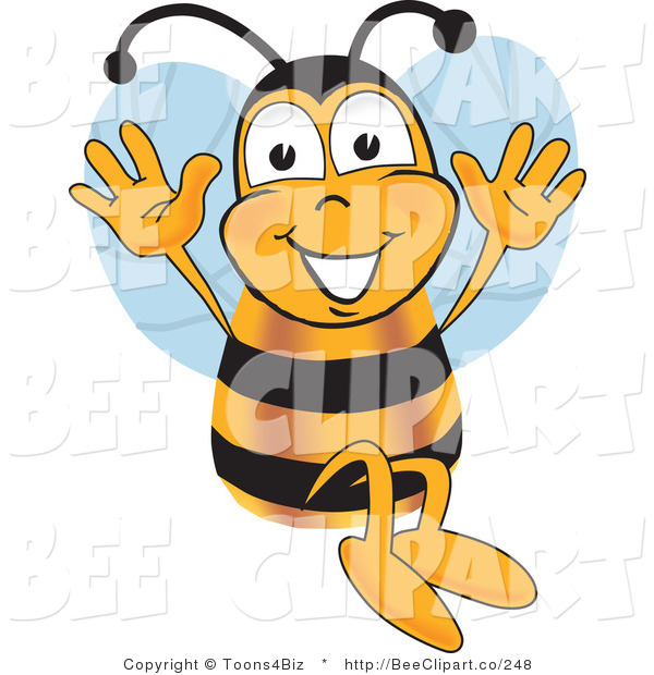 Clip Art of a Bumble Bee Jumping with His Arms up