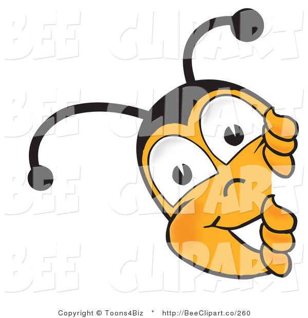 Clip Art of a Bumble Bee Peeking His Head Around a Corner