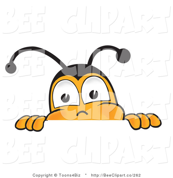 Clip Art of a Bumble Bee Peeking over a Horizontal Surface