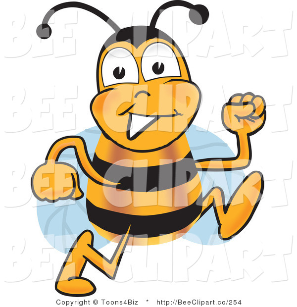 Clip Art of a Bumble Bee Running