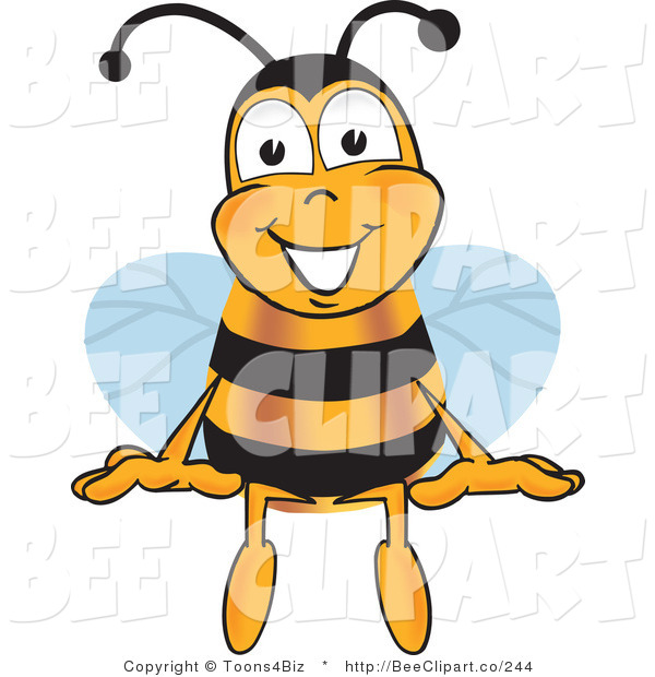 Clip Art of a Bumble Bee Sitting