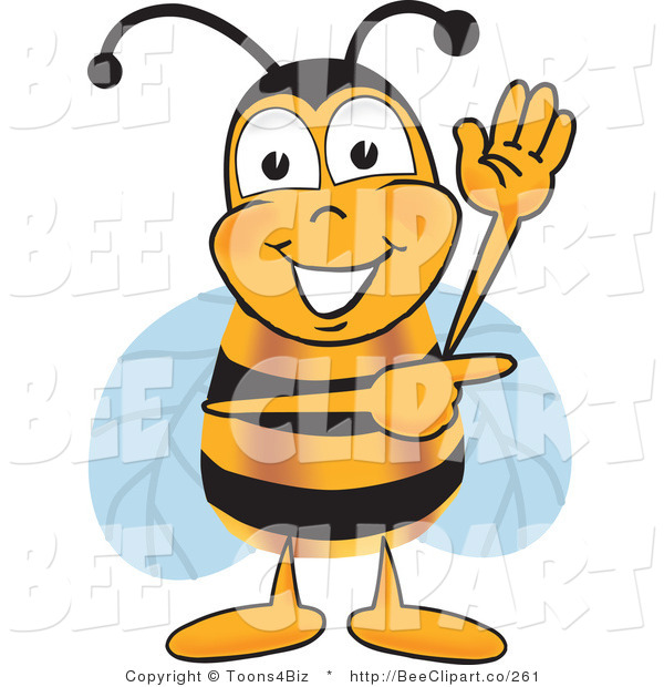Clip Art of a Bumble Bee Waving and Pointing to the Right