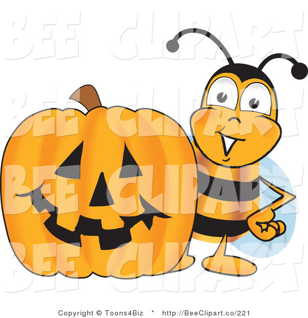 Clip Art of a Bumble Bee with a Carved Halloween Pumpkin
