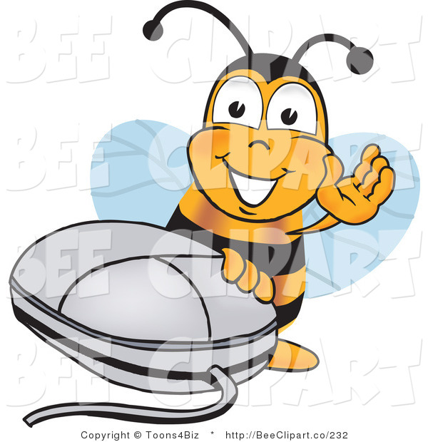 Clip Art of a Bumble Bee with a Computer Mouse