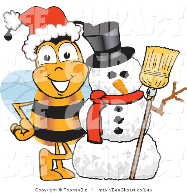 Clip Art of a Bumble Bee with a Snowman on Christmas