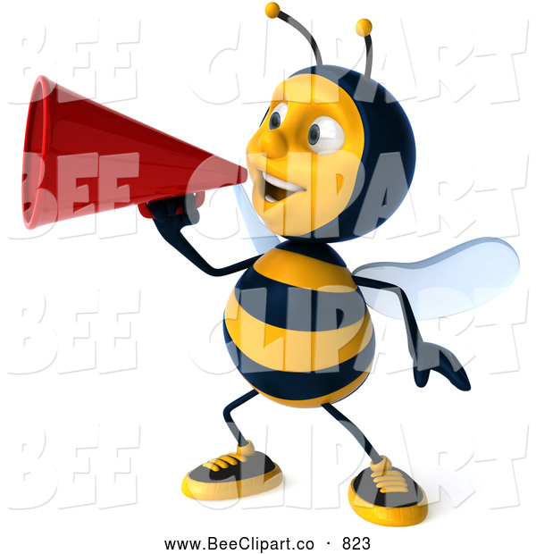 Clip Art of a Cheerful 3d Bee Character Announcing