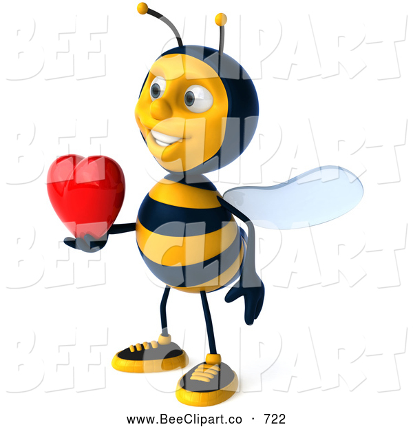 Clip Art of a Cheerful 3d Bee Character Holding a Heart