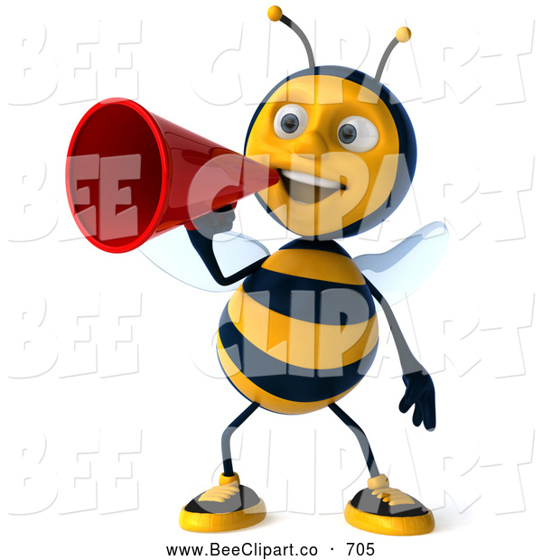 Clip Art of a Cheerful 3d Bee Character Making an Announcement