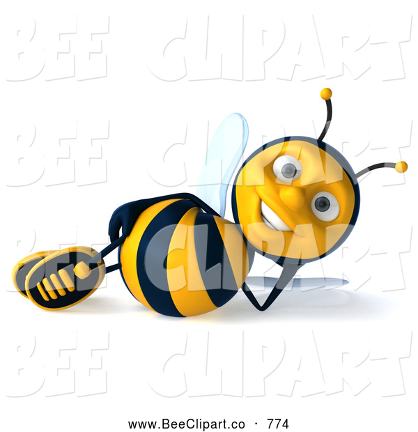 Clip Art of a Cheerful 3d Bee Character Relaxing
