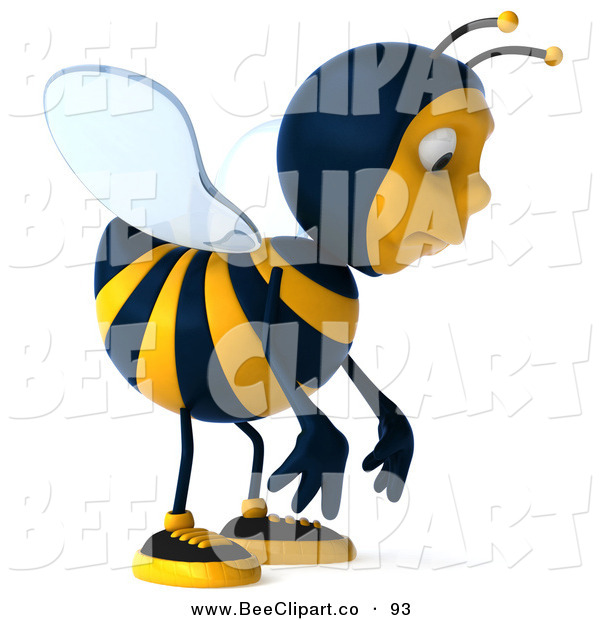 Clip Art of a Cute 3d Bee Character Facing Front and Pouting