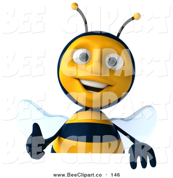 Clip Art of a Cute 3d Bee Character Holding a Thumb up over a Blank Sign