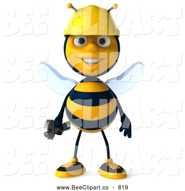 Clip Art of a Cute 3d Bee Character Holding a Wrench