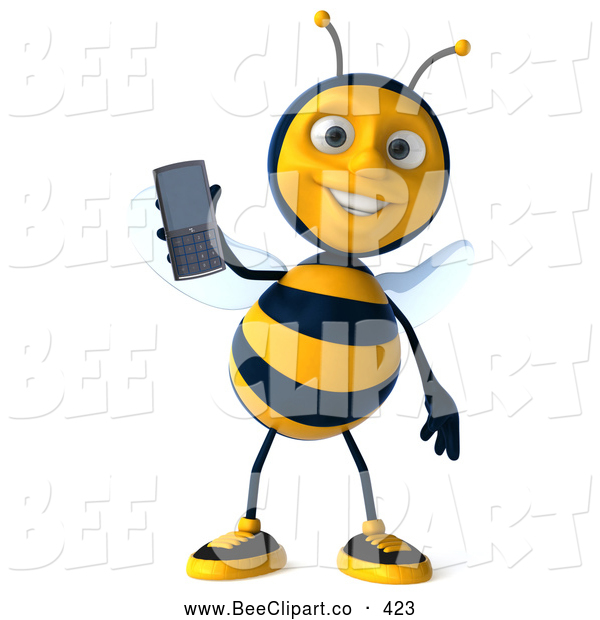 Clip Art of a Cute 3d Bee Holding a Cell Phone