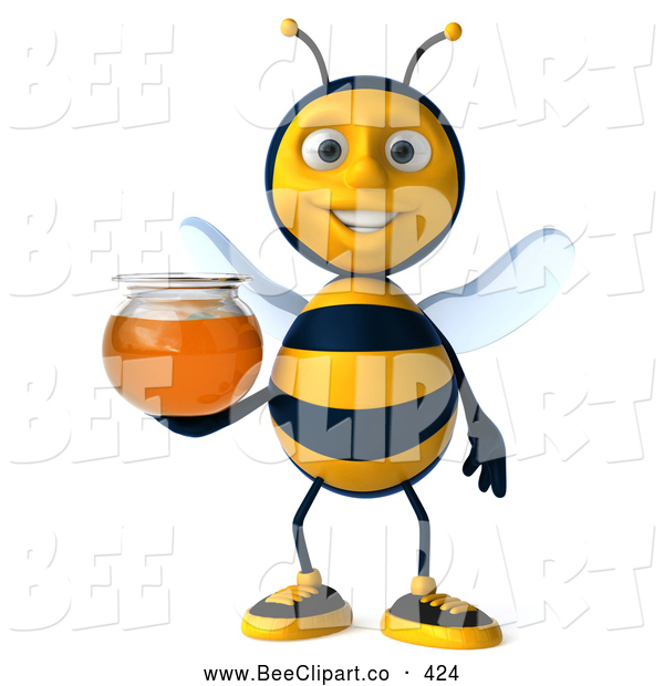 Clip Art of a Cute 3d Bee Holding Honey