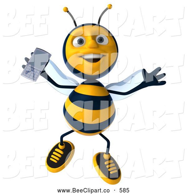 Clip Art of a Cute 3d Bee Jumping with a Cell Phone