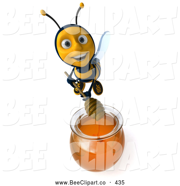 Clip Art of a Cute 3d Bee Mixing Honey