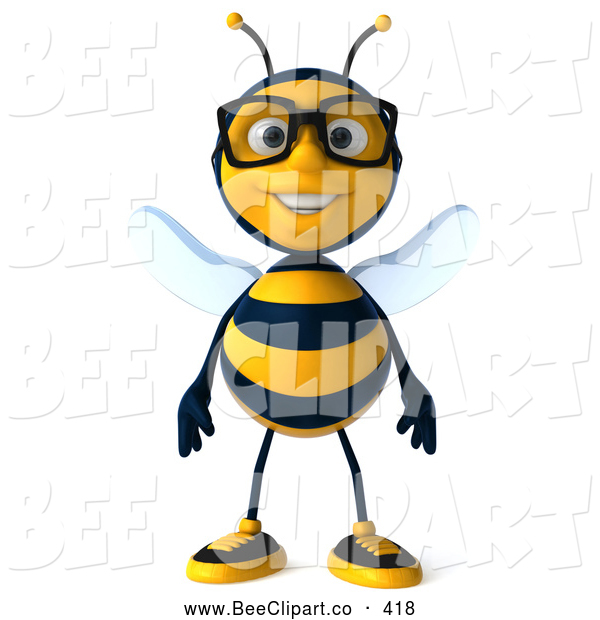 Clip Art of a Cute 3d Bee Wearing Glasses and Facing Front