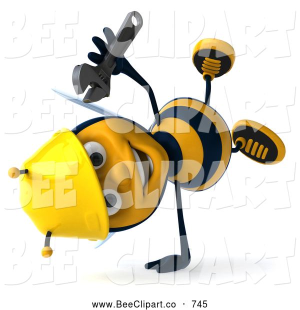 Clip Art of a Cute 3d Worker Bee Doing a Cartwheel and Holding a Wrench