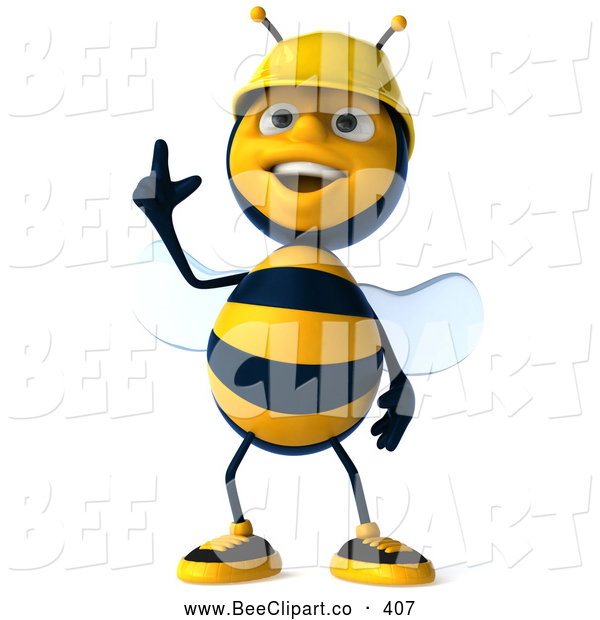 Clip Art of a Cute 3d Worker Bee Gesturing up