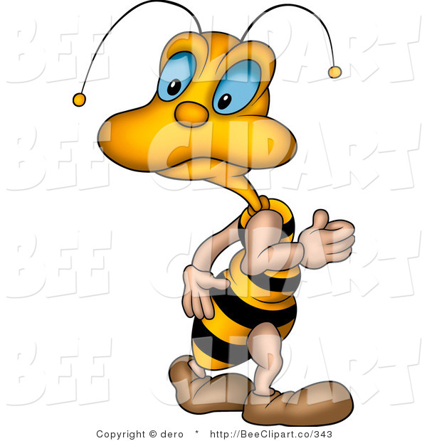 Clip Art of a Cute Yellow Little Blue Eyed Bee Looking Back over Its Shoulder