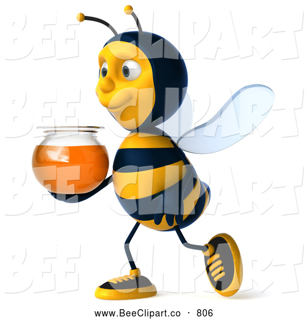 Clip Art of a Friendly 3d Bee Character Holding Honey